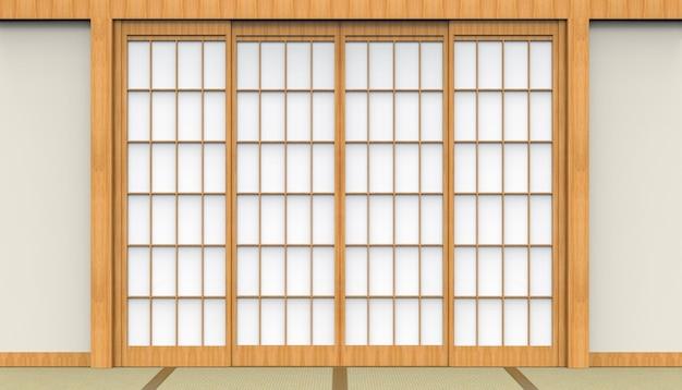 3d-weergave. traditionele oosterse japanse witte papieren deur en tatami vloer kamer ontwerp achtergrond.