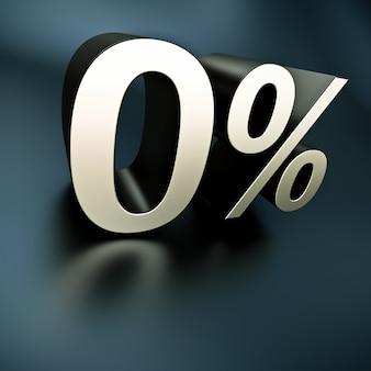 3d-weergave van 0% in metalen structuur tegen een zwarte achtergrond