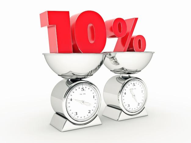 3d-weergave van 10 procent korting