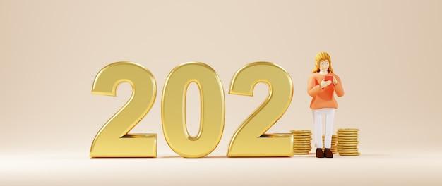 3d-weergave van 2021 en vrouw spelen mobiel. zakelijk online mobiel en e-commerce.