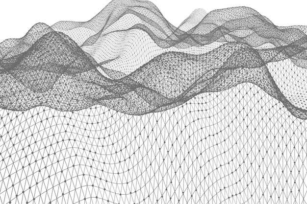 3d-weergave van abstract digitaal landschap als achtergrond met deeltjes stippen