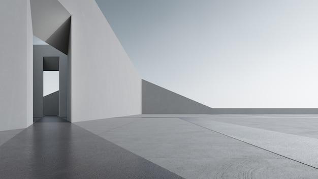 3d-weergave van abstract grijs gebouw met heldere hemel.