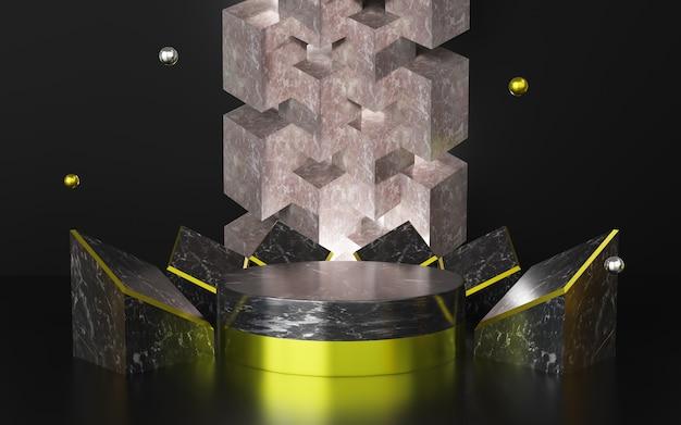 3d-weergave van abstract zwart achtergrond premium podium.