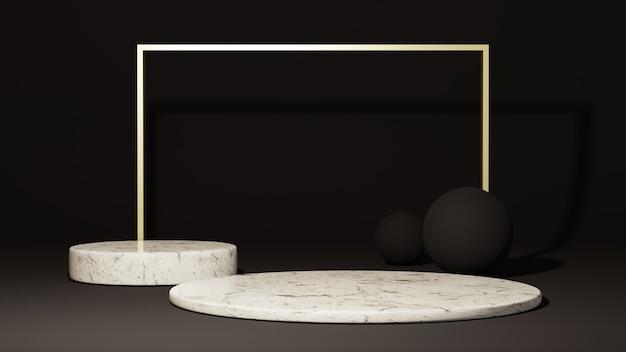 3d-weergave van abstracte achtergrond. podium voor showproduct. lege scène showcase met leeg rond podium.