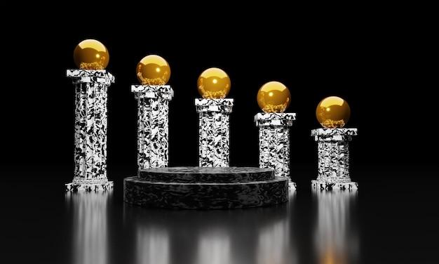 3d-weergave van abstracte compositie voor productpresentatie met gouden bal op pijler marmer