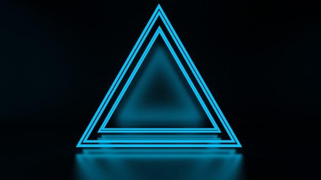 3d-weergave van abstracte driehoek in neonlicht