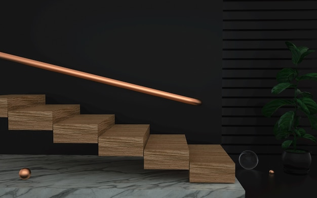 3d-weergave van abstracte fase achtergrond met houten trappen