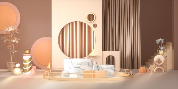 3d-weergave van abstracte fase achtergrond met marmeren podium voor productvertoning