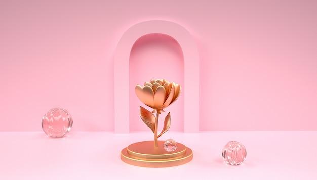 3d-weergave van abstracte geometrische achtergrond met bloemen op het podium voor productvertoning