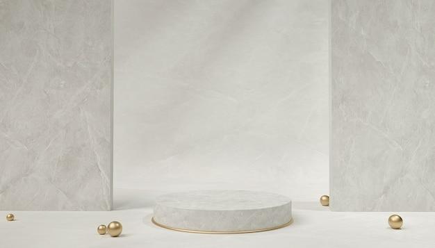 3d-weergave van abstracte geometrische achtergrond met marmeren podium voor productvertoning
