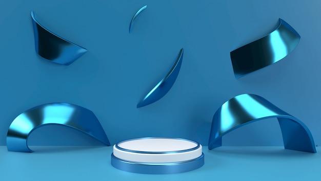 3d-weergave van abstracte geometrische achtergrond, scène, podium, podium en weergave. blauwe en witte kleur.