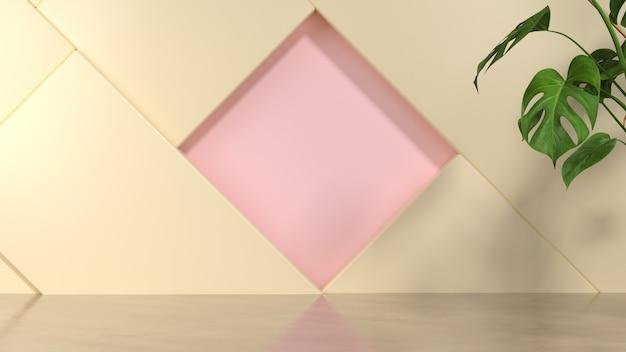3d-weergave van abstracte geometrische en plant.