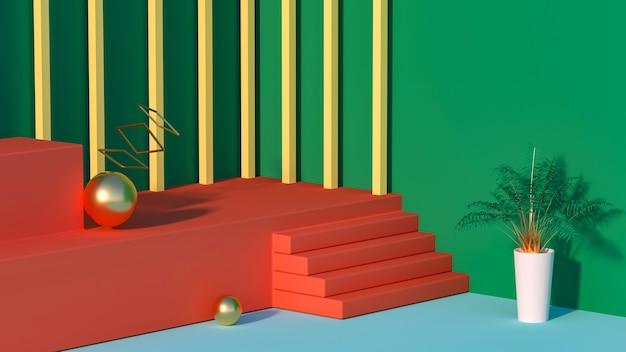 3d-weergave van abstracte geometrische met rode podium en bloempotten
