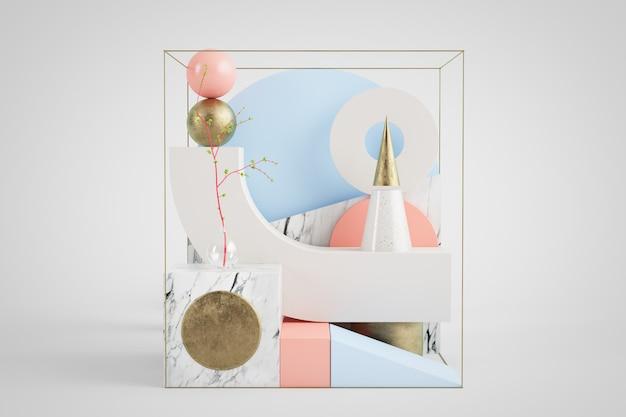 3d-weergave van abstracte geometrische set met vormen van goud, marmer, roze en blauw