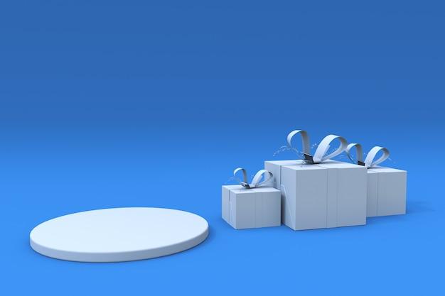 3d-weergave van abstracte minimale scène blauwe achtergrond en wit podium met geschenkdoos