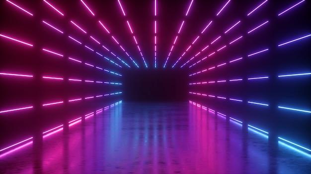 3d-weergave van abstracte neon lege tunnel met roze gloeiende lijnen