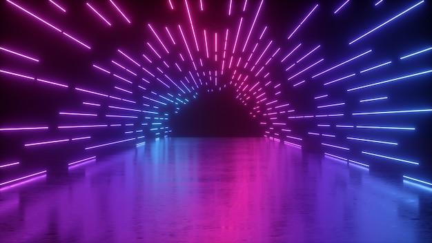 3d-weergave van abstracte neon met roze blauwe gloeiende lijnen