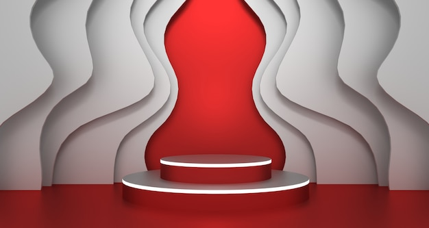 3d-weergave van abstracte rode en witte kleur geometrische vorm, moderne minimalistische podiumweergave