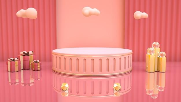 3d-weergave van abstracte roze achtergrond met geschenkdoos