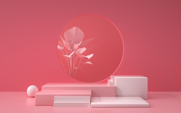 3d-weergave van abstracte roze geometrische achtergrondscène met podium en planten voor productvertoning