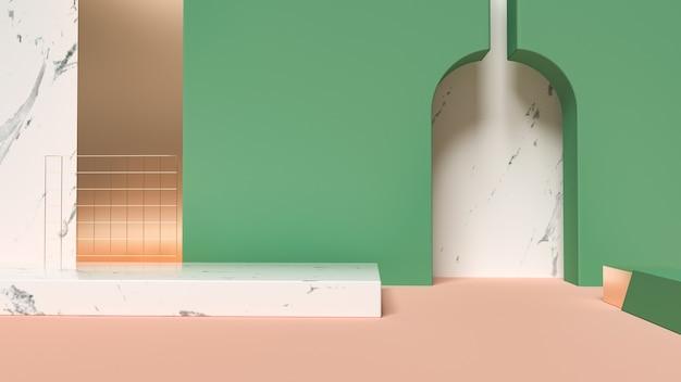 3d-weergave van abstracte scène geometrische vormen