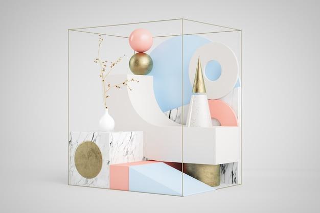 3d-weergave van abstracte set met geometrische vormen in marmer, goud, roze en blauwe achtergrond