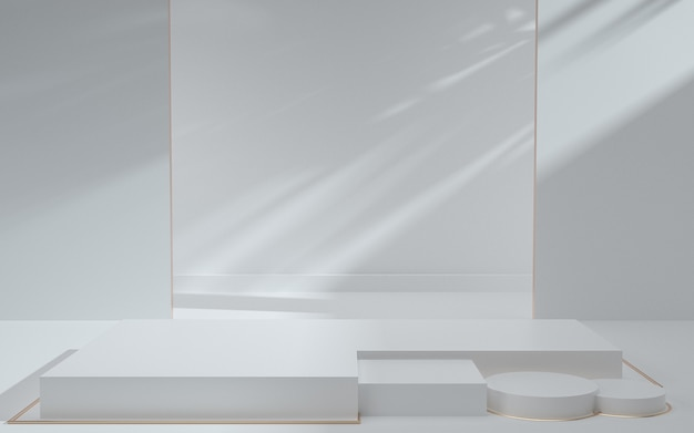 3d-weergave van abstracte witte geometrische achtergrondscène met podium en schaduwen voor productvertoning