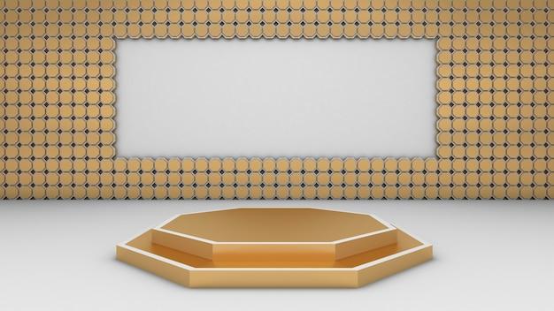3d-weergave van abstracte zeshoekige vorm en podium voor showproduct