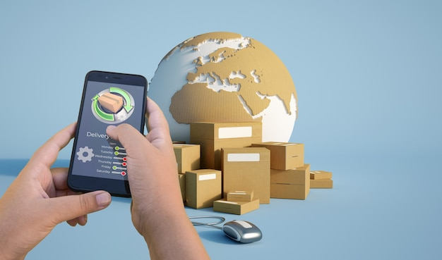 3d-weergave van app-pakketten voor het volgen van de levering van smartphones