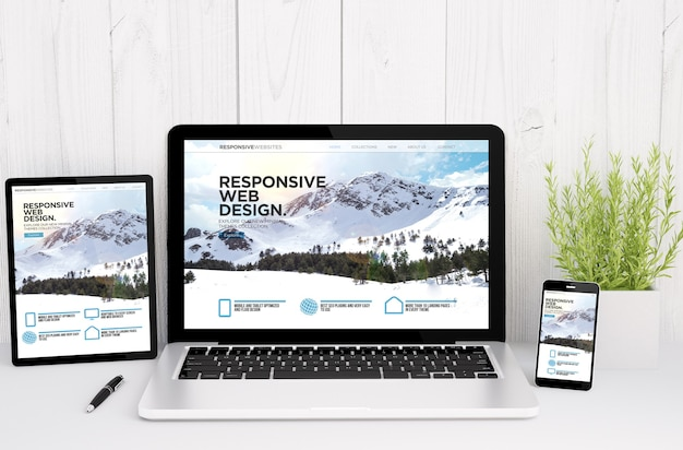 3d-weergave van apparaten op tafel met responsief ontwerp