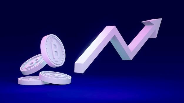 3d-weergave van b-munt als verwijzend naar blockchain met een pijl omhoog op de achtergrond