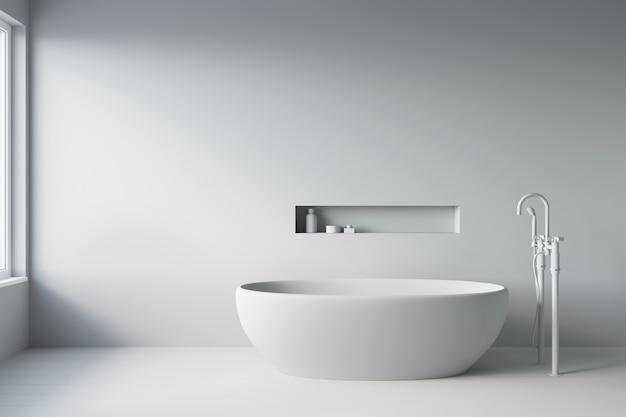 3d-weergave van badkamer. wit bad in een grijs interieur.