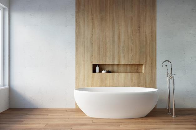 3d-weergave van badkamer. witte badkuip in een licht interieur.