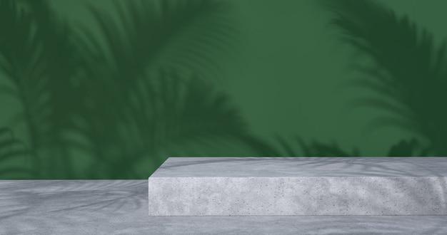 3d-weergave van betonnen podium en palmboomschaduw.