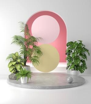 3d-weergave van betonnen podium en plant.