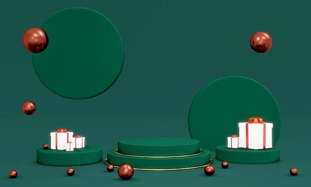 3d-weergave van blanco podium voor commercieel ontwerpconcept van kerstwo-sjabloon voor spandoek