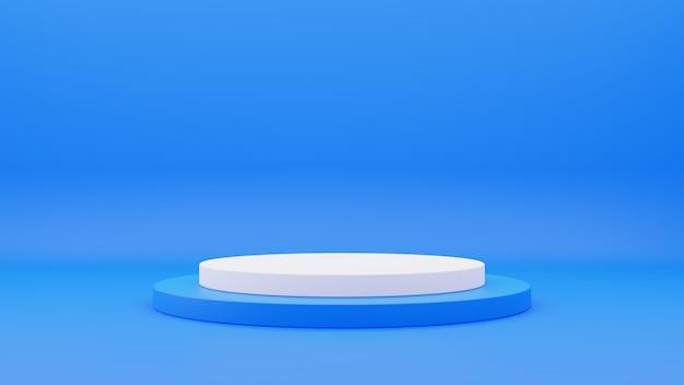 3d-weergave van blauw en wit cirkelpodium