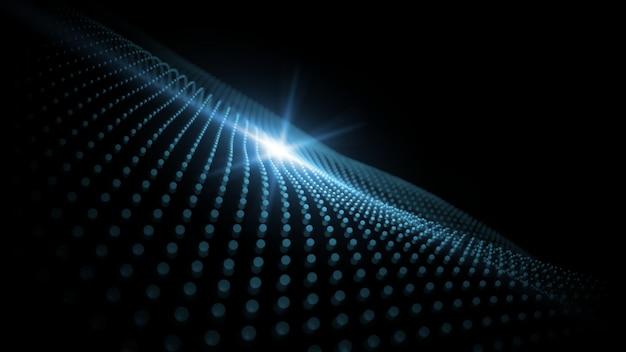 3d-weergave van blauwe abstracte geometrie stippen golven met flare licht.