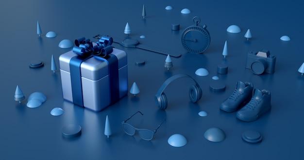 3d-weergave van blauwe geschenkdoos.