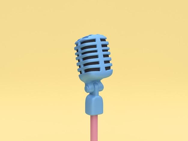 3d-weergave van blauwe microfoon