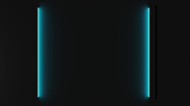 3d-weergave van blauwe neonlichten op een donkere ondergrond