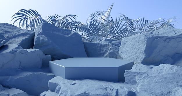3d-weergave van blauwe podium en stenen achtergrond