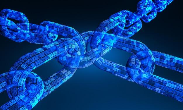 3d-weergave van blockchain