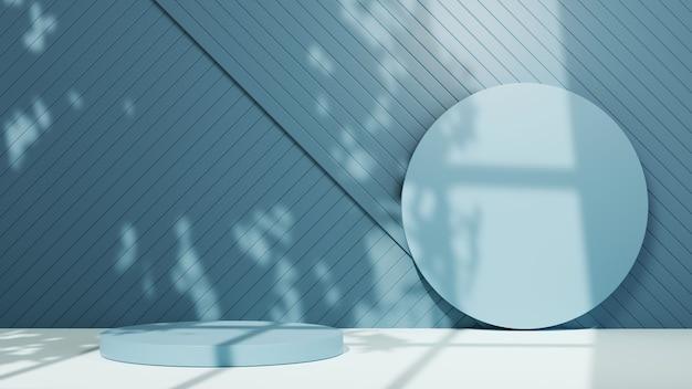 3d-weergave van blue podium voor het weergeven van producten op de achtergrond van een blauwe kamer. mockup voor showproduct.