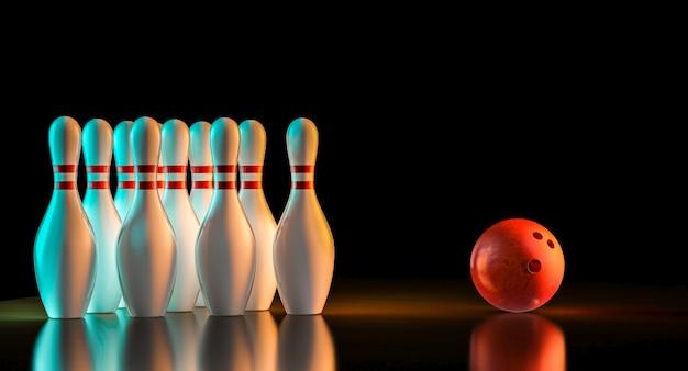 3d-weergave van bowling spullen