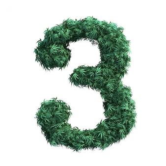 3d-weergave van cannabis nummer 3