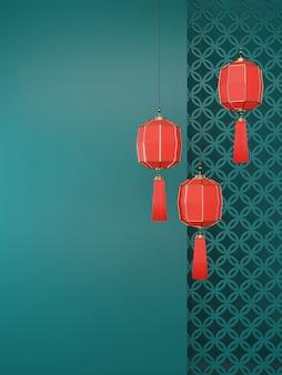 3d-weergave van chinees nieuwjaar 2020. rode chinese lantaarns die op de groene muurachtergrond hangen