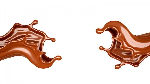 3d-weergave van chocolade vloeiende spatten