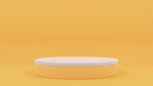 3d-weergave van cirkel podium met marmer bovenop
