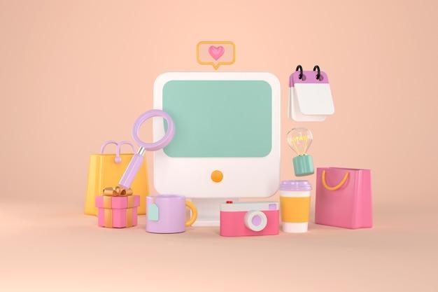 3d-weergave van computer en online winkelen.